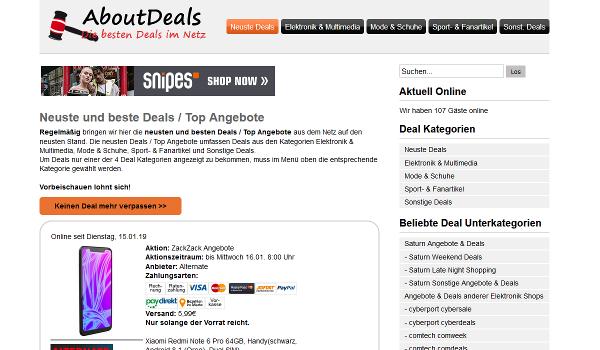 Schnäppchen- / Deal-Portal AboutDeals.de