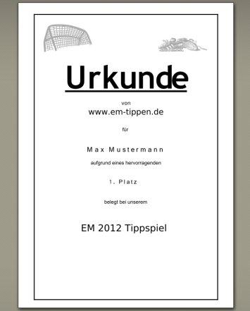 EM Tippspiel 2020 Urkunde