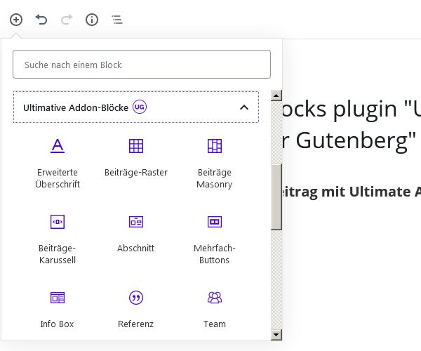 ultimative Addon-Blöcke im Blockselektor
