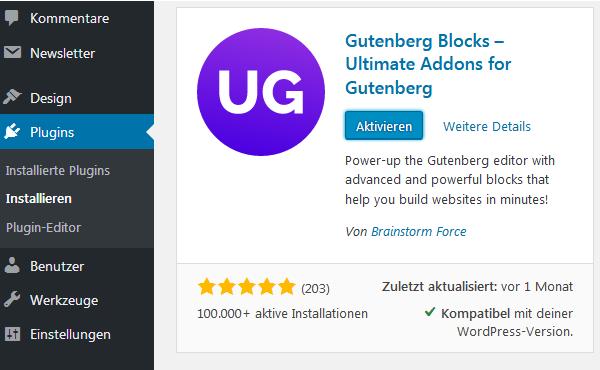 plugin Ultimate Addons for Gutenberg installieren