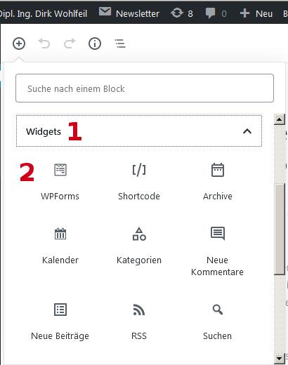 Block-Kategorie Widgets innerhalb der Block-Auswahlliste